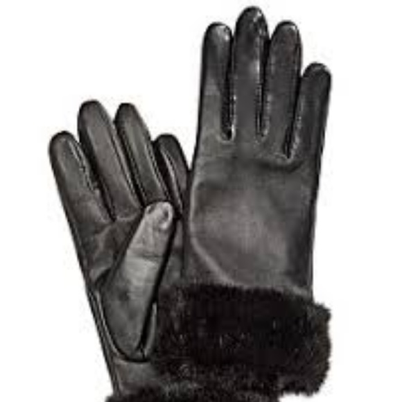 Womens Luxurious Soft 100/% Genuine Leather Fleece Lined Faux Fur Cuff Gloves